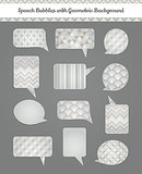 Speech Bubbles with White Gray Geometric Grunge Background