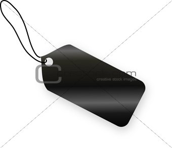 Black tag on white background
