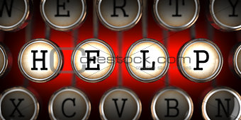 Old Typewriter's Keys with Help Slogan.