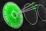 Focus on Results Slogan - Green Target.