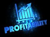 Profitability Concept on Dark Digital Background.