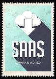 SAAS Concept on Blue Color in Flat Design.