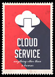 Cloud Service Concept on Red in Flat Design.