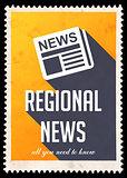Regional News on Yellow in Flat Design.