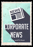Corporate News on Blue in Flat Design.