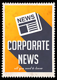 Corporate News on Yellow in Flat Design.