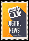 Digital News on Yellow in Flat Design.