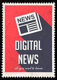 Digital News on Red in Flat Design.
