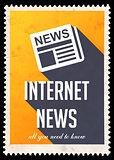 Internet News on Yellow in Flat Design.