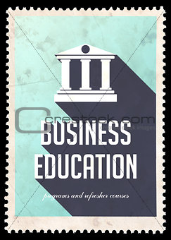 Business Education on Blue in Flat Design.
