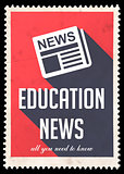 Education News on Red in Flat Design.