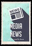 Media News on Light Blue in Flat Design.