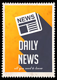 Daily News on Yellow in Flat Design.