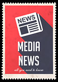 Media News on Red in Flat Design.