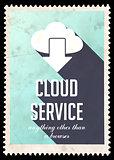 Cloud Service Concept on Blue in Flat Design.