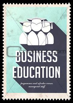 Business Education on Light Blue in Flat Design.