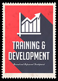 Training and Development on Red in Flat Design.