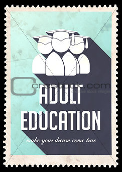 Adult Education on Light Blue in Flat Design.