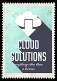 Cloud Solutions on Light Blue in Flat Design.