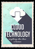 Cloud Technology on Light Blue in Flat Design.
