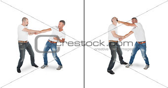 Man defending against wristgrab