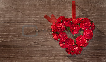 Valentine day background with heart and roses