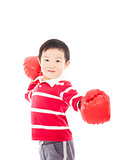 Portrait of a cute sporty boy in boxing gloves