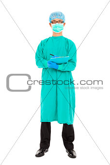 portrait of surgeon or checker in mask and uniform