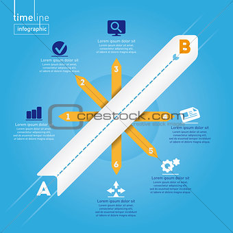 Business Infographic: Timeline style, with original icons.