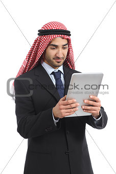 Arab saudi emirates business man using a tablet reader