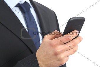 Close up of a business man hand holding and using a smart phone