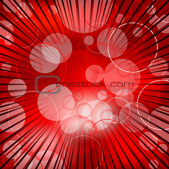 Abstract red background design with bursting rays