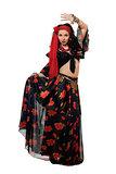 Dancing gypsy woman in a black skirt