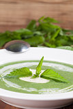 Nettle cream soup with sour cream