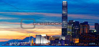 Skyline of Hong Kong at sunset.