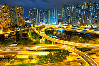 aerial view of the city overpass at night, HongKong, Asia