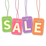 Sale tag on hanging multicolor labels isolated on white background