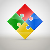 Abstract colorful Puzzle figure