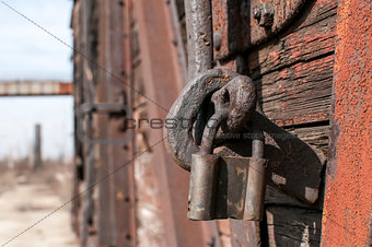 Old latch and padlock
