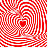 Design heart swirl rotation illusion background. Abstract stripe