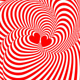 Design hearts twisting movement illusion background. Abstract st