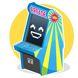 Blue Vintage Arcade Machine Game
