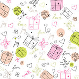 hand draw texture - seamless pattern with hearts, gifts, butterf