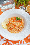 Spaghetti with red caviar