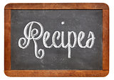 recipes word on blackboard
