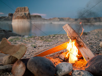 Campfire on the beach.