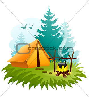 Camping in forest with tent and campfire