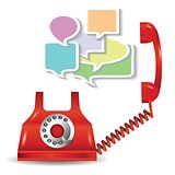 red telephone and speech bubbles
