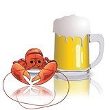 lobster and mug of beer