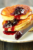 Pancakes with ricotta closeup.